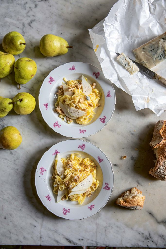 Tagliatelle with gorgonzola, pear and walnut from Skye McAlpine's book, A Table For Friends