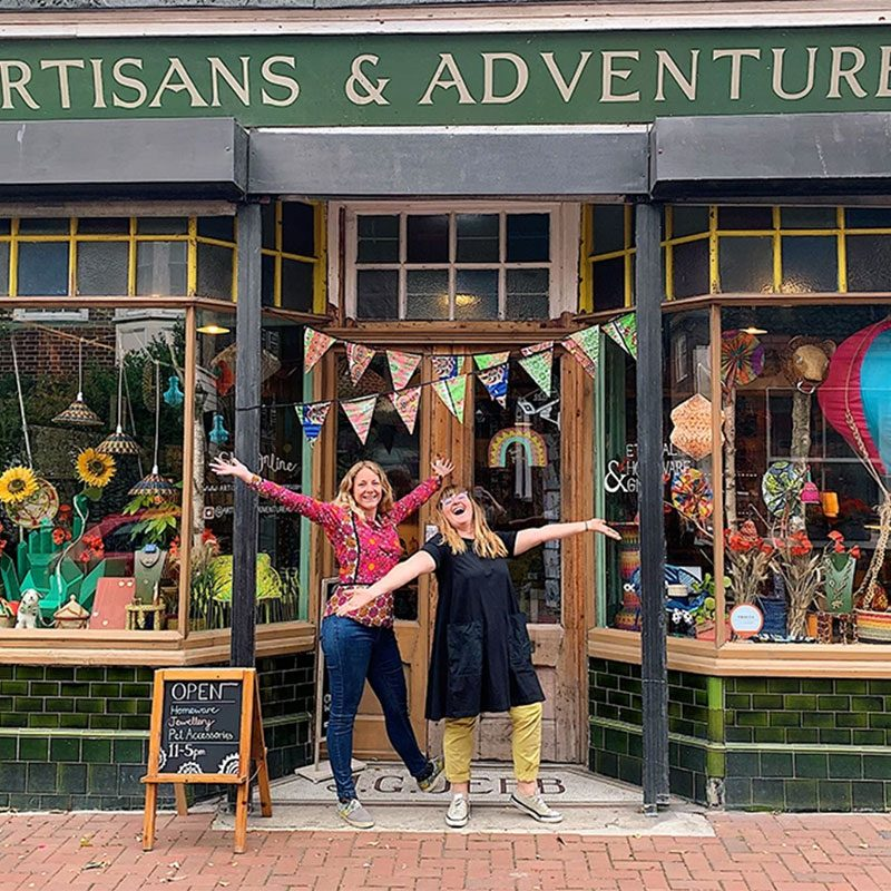 Owners of Artisans-and-Adventurers-homeware and jewellery store Bee Friedmann and Amy Fleuriot-Reade in Margate, Kent