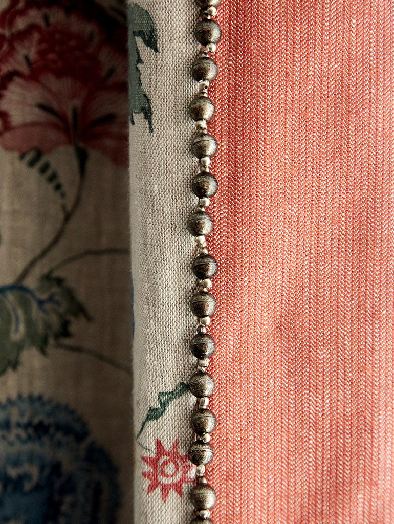 Curtain leading edge detail in Crosby-Street-Hotel-suite, New York, Firmdale Hotels designed by Kit Kemp