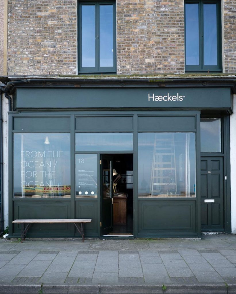 Outside of Haeckels-House natural skincare and wild fragrance store in-Margate, Kent