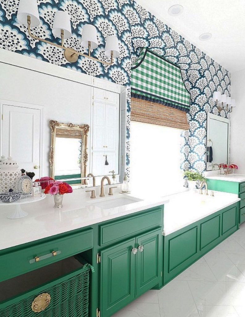 Bathroom with green units, bold pattered wallpaper and gingham green pelmet by Jennifer Griffin @jenniferdimplesandtangles