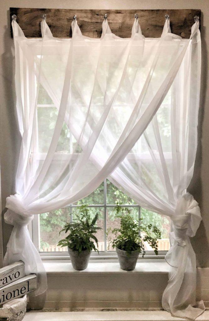 Sheer farmhouse window treatment, curtains by Maria Louise Design