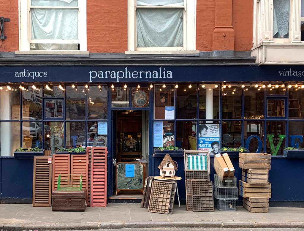 Outside of Paraphernalia-antiques and vintage store in Margate old town, Kent