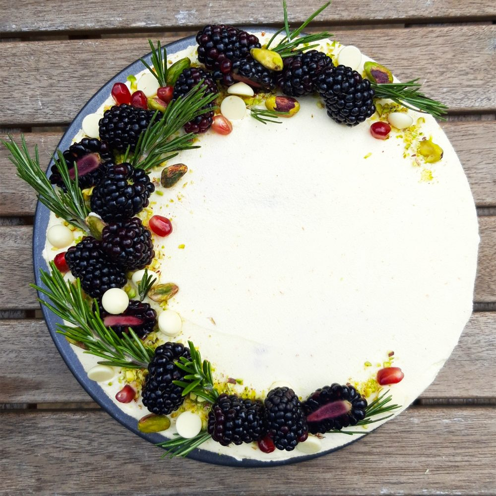 Luminary Bakery's Pistachio, Blackberry & White Chocolate Layer Cake