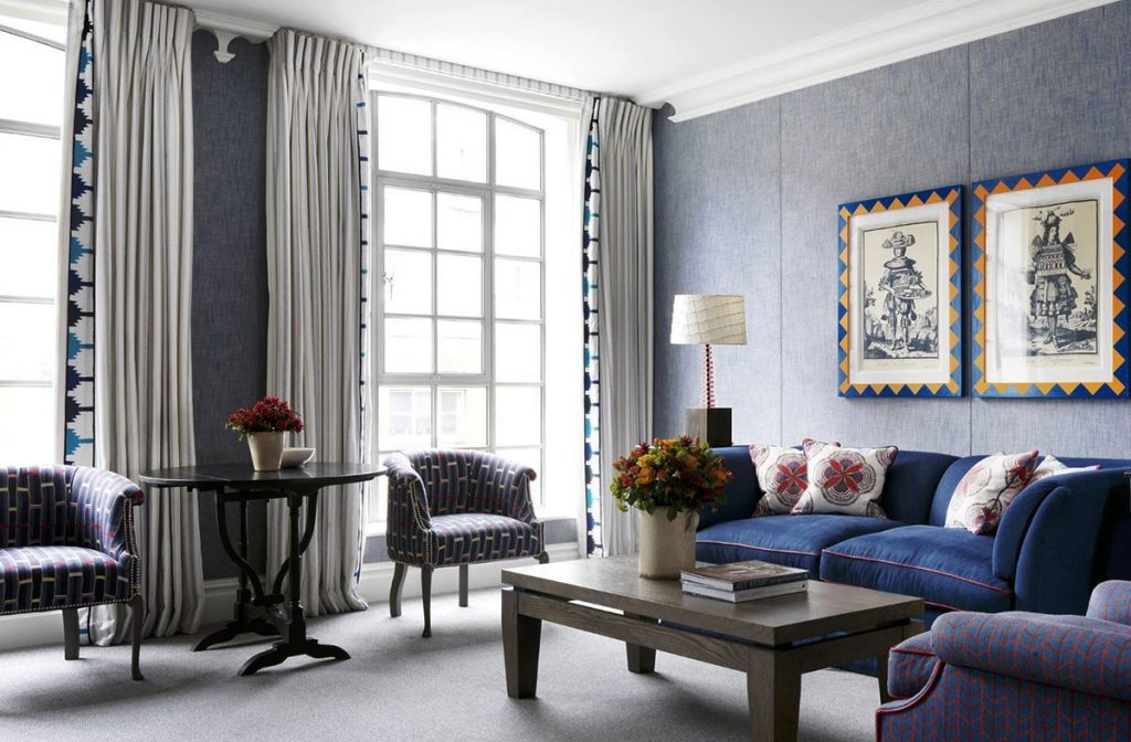 Curtain detail in blue room at Soho Hotel in London by Firmdale Hotels designed by Kit Kemp