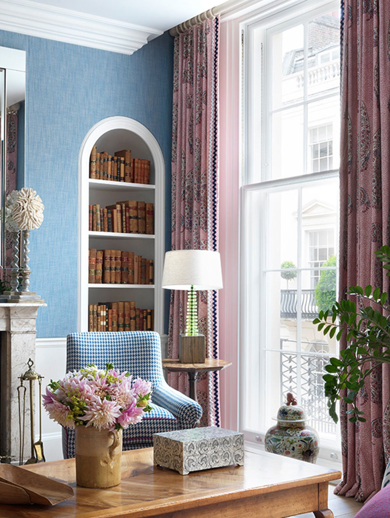 Curtain detail in blue townhouse room at Haymarket Hotel in London by Firmdale Hotels designed by Kit Kemp