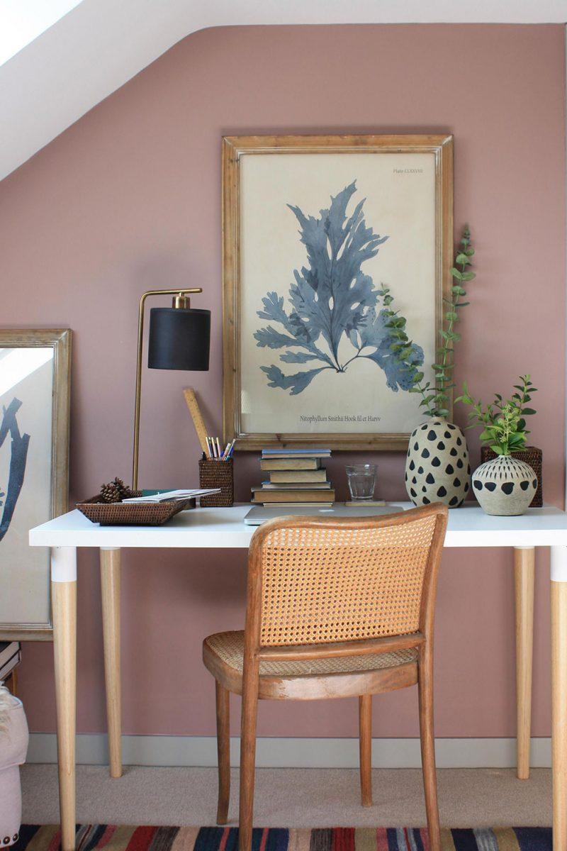 Home office, home study, Oka seaweed print, oka decorative pots, Oka desk lamp, Oka wicker desk accessories, sulking room pink farrow and ball, Oka faux eucalyptus
