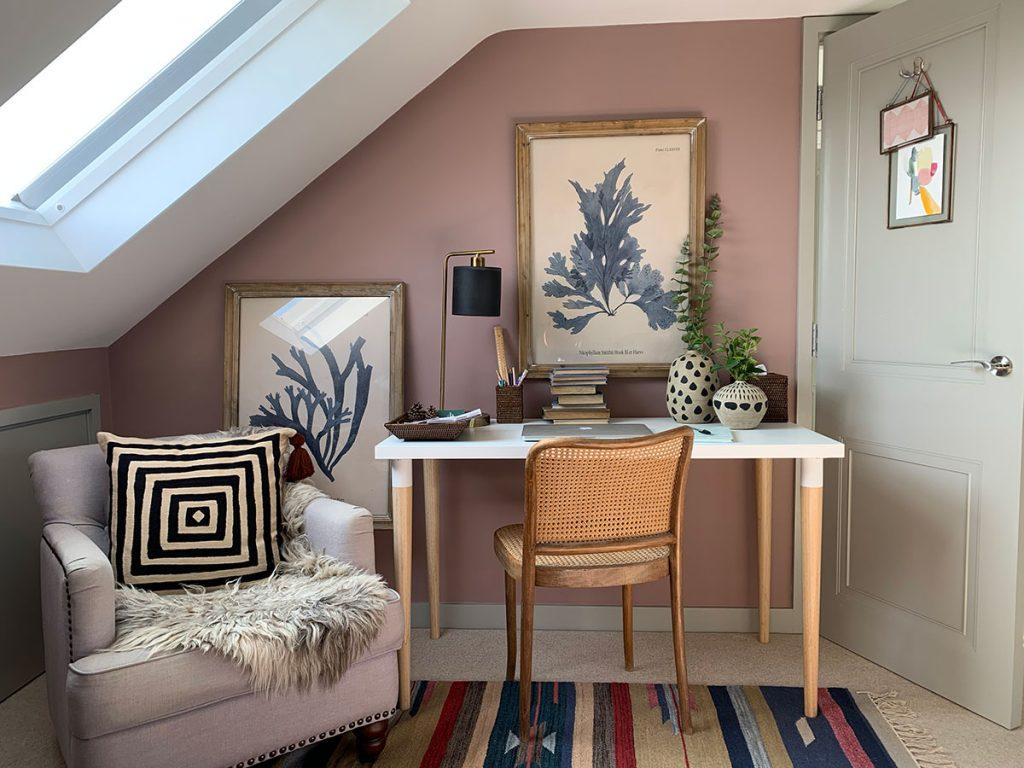 Ros home office, home study, desk, Ok desk lamp, Oka decorative pots, Oka geometric cushion, Oka framed seaweed print, killim rug, sulking room pink farrow and ball