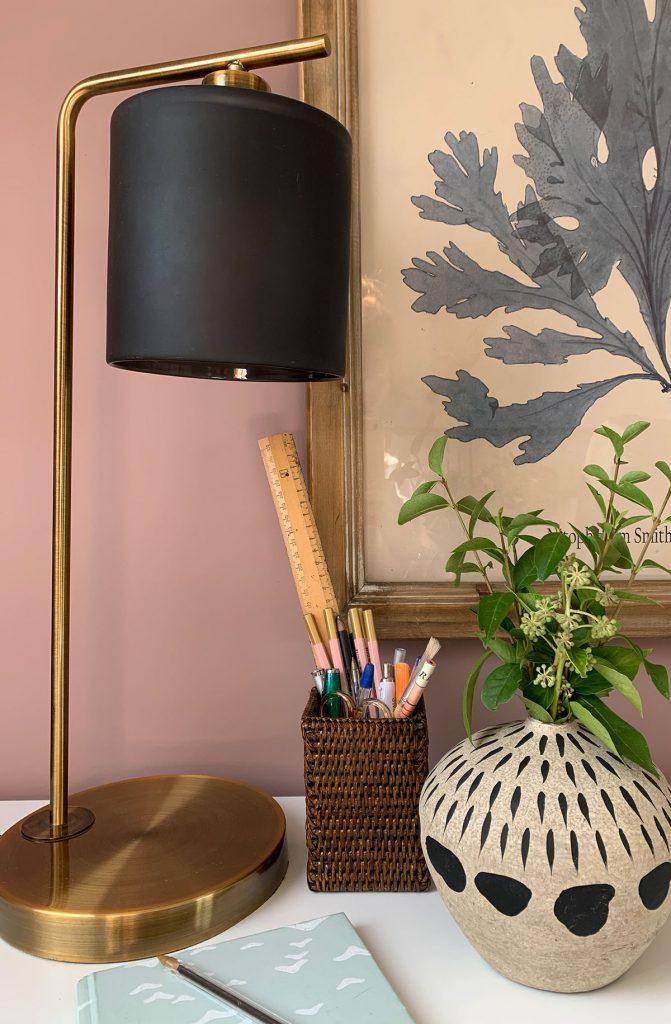 Home office, home study, Oka seaweed print, oka decorative pots, Oka desk lamp, Oka wicker desk accessories, sulking room pink farrow and ball