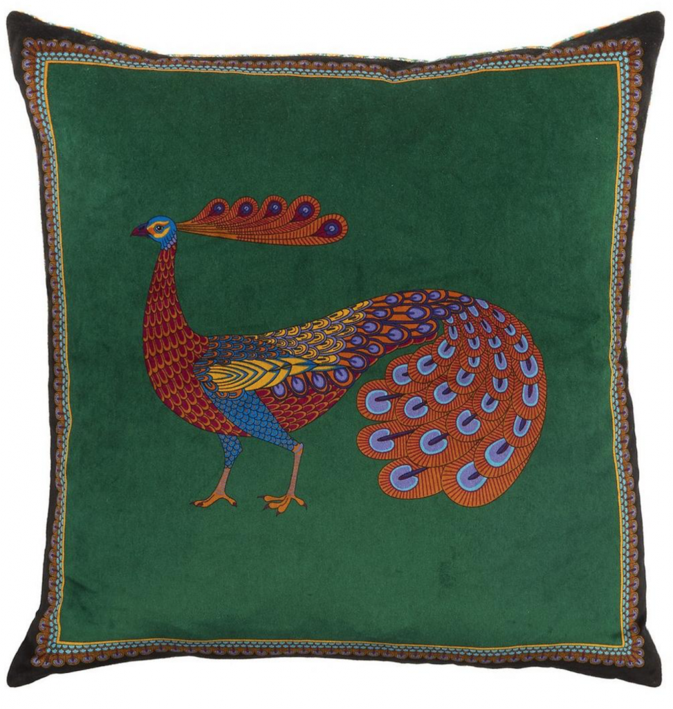 Peacock Garden Velvet Cushion, £110, Liberty London