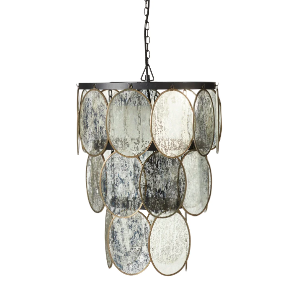 Luminosia hanging disc lamp antiqued mirror OKA