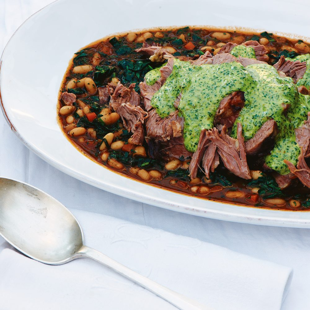 Carole Bamford's Slow-cooked Lamb Shoulder with White Beans & Salsa Verde Mayonnaise