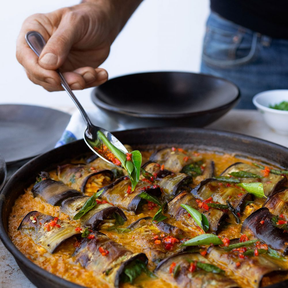 Ottolenghi's Stuffed Aubergine in Curry and Coconut Dal