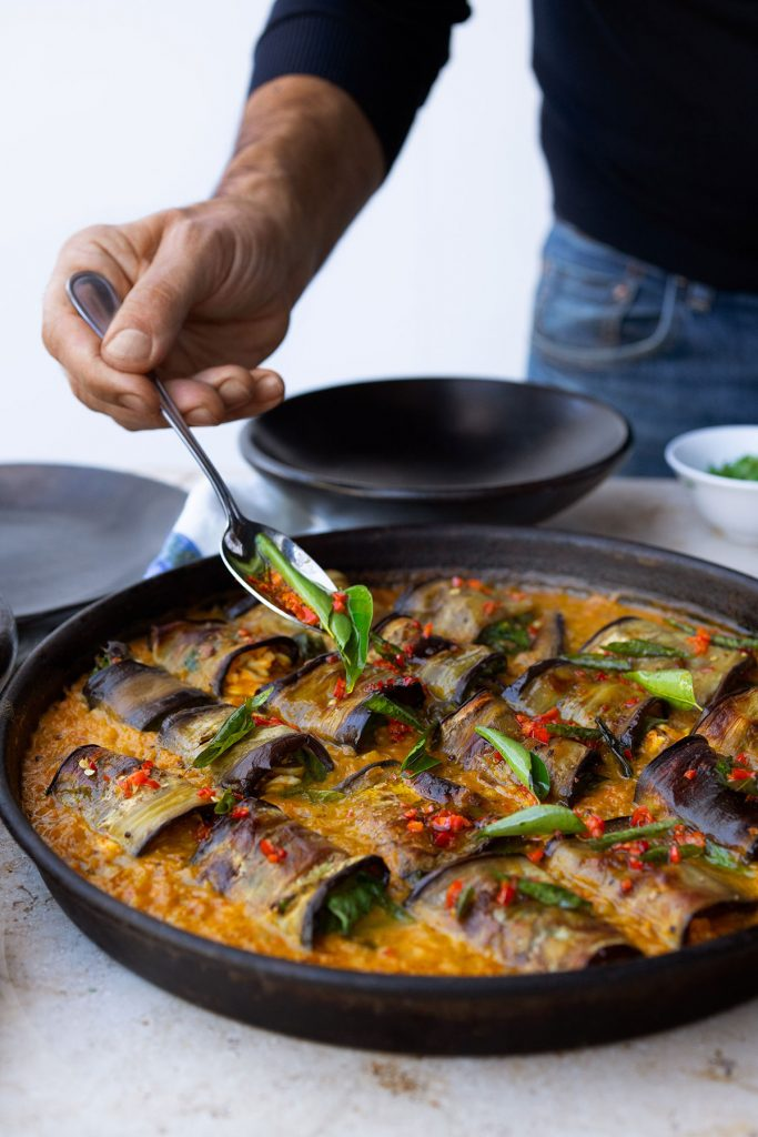 Stuffed aubergine in curry and coconut dal from Ottolenghi Flavour, by Yotam Ottolenghi and Ixta Belfrage