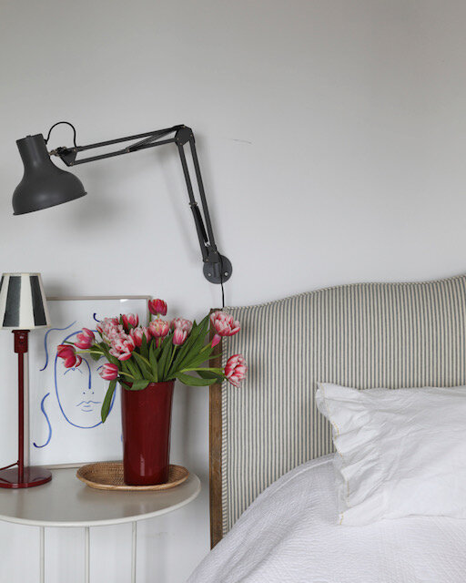 Sophie Rowell interior design Côte de Folk stripe bedhead
