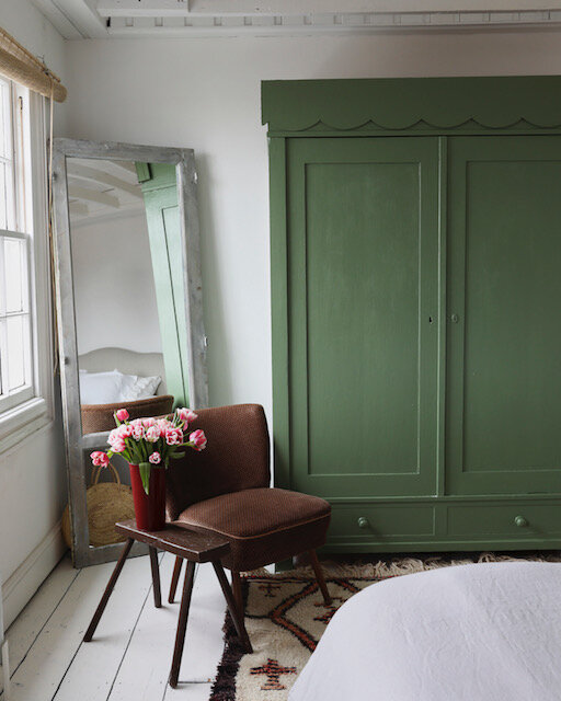 Sophie Rowell interior designer Côte de Folk Farrow & Ball Calke Green wardrobe with scallop edging