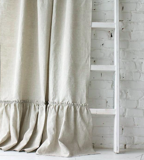 Ruffled linen shower curtain Ets