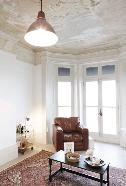 Sophie Rowell interior designer Côte de Folk drawing room seaside project leather antique armchair