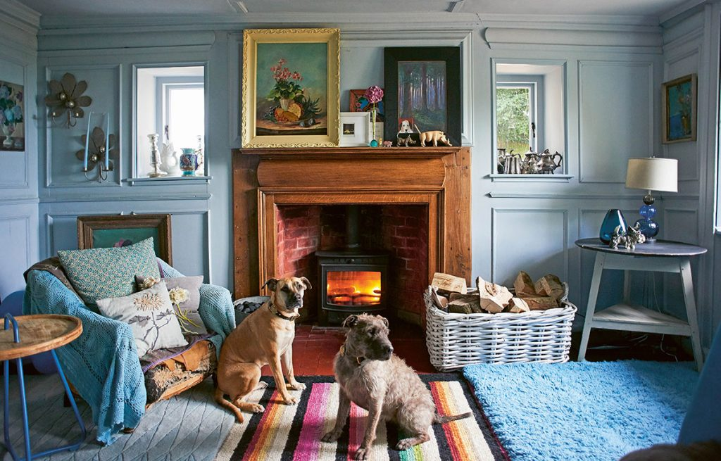 Nikki Tibbles' blue panelled living room with her rescue dogs in front of the log burner. Petworth, East Sussex. From Cool Dogs, Cool Homes by Geraldine James. Photo: James Gardiner