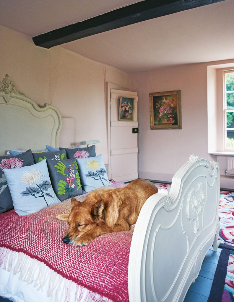 Nikki Tibbles' rescue dog Smith dozes on the cream-painted Provençal Louis XV bed at her home in Petworth, West Sussex. Wild At Heart Foundation From Cool Dogs, Cool Homes by Geraldine James