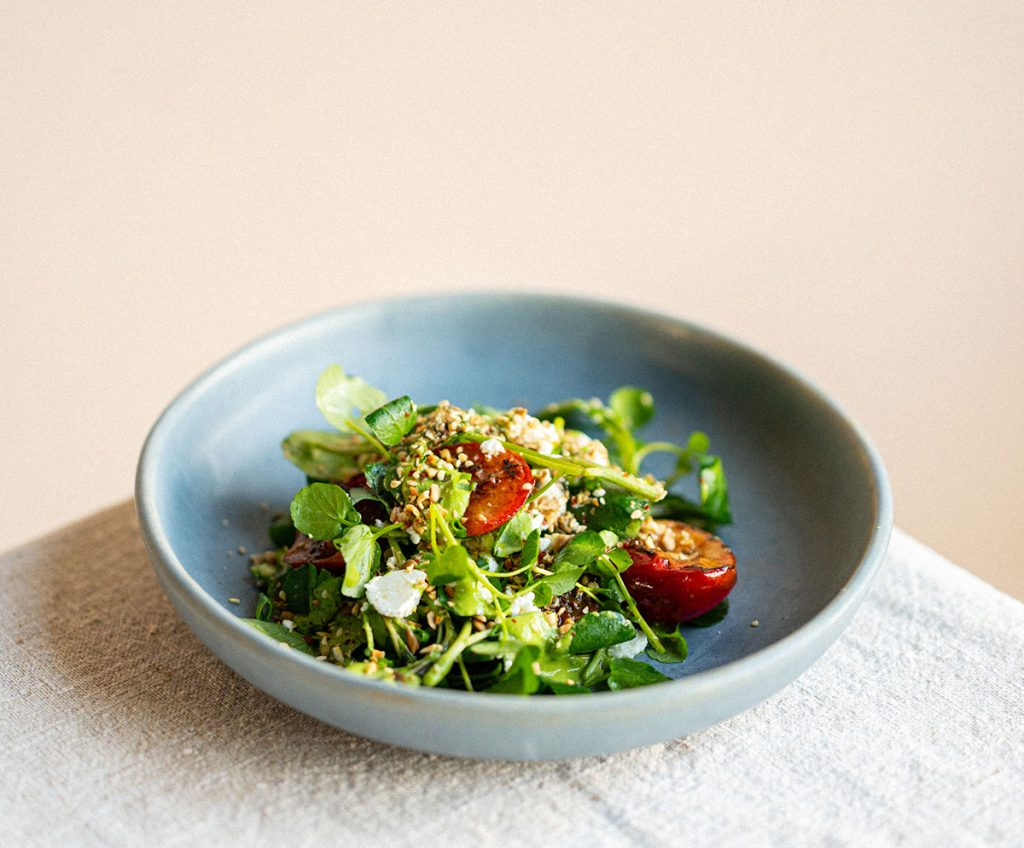 Harriet Mansell's Warm Watercress and Roasted Plum Salad