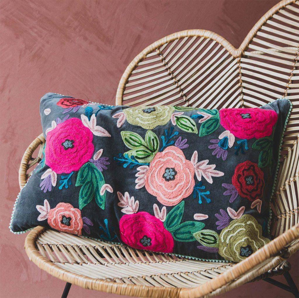 Floral-Emrboidered-Velvet-Cushion,-£40,-Graham-and-Green