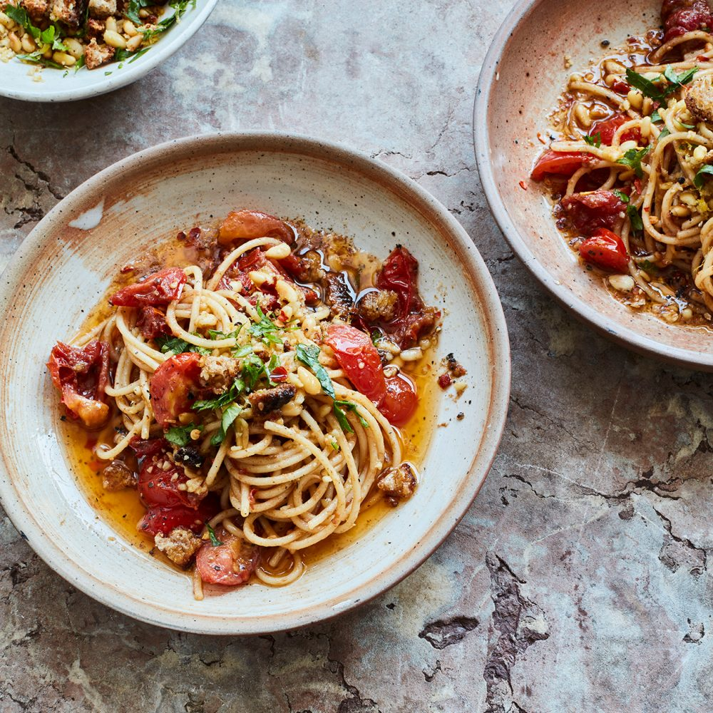 Theo Michaels' Anchovy Spaghetti with Pine Nut Picada