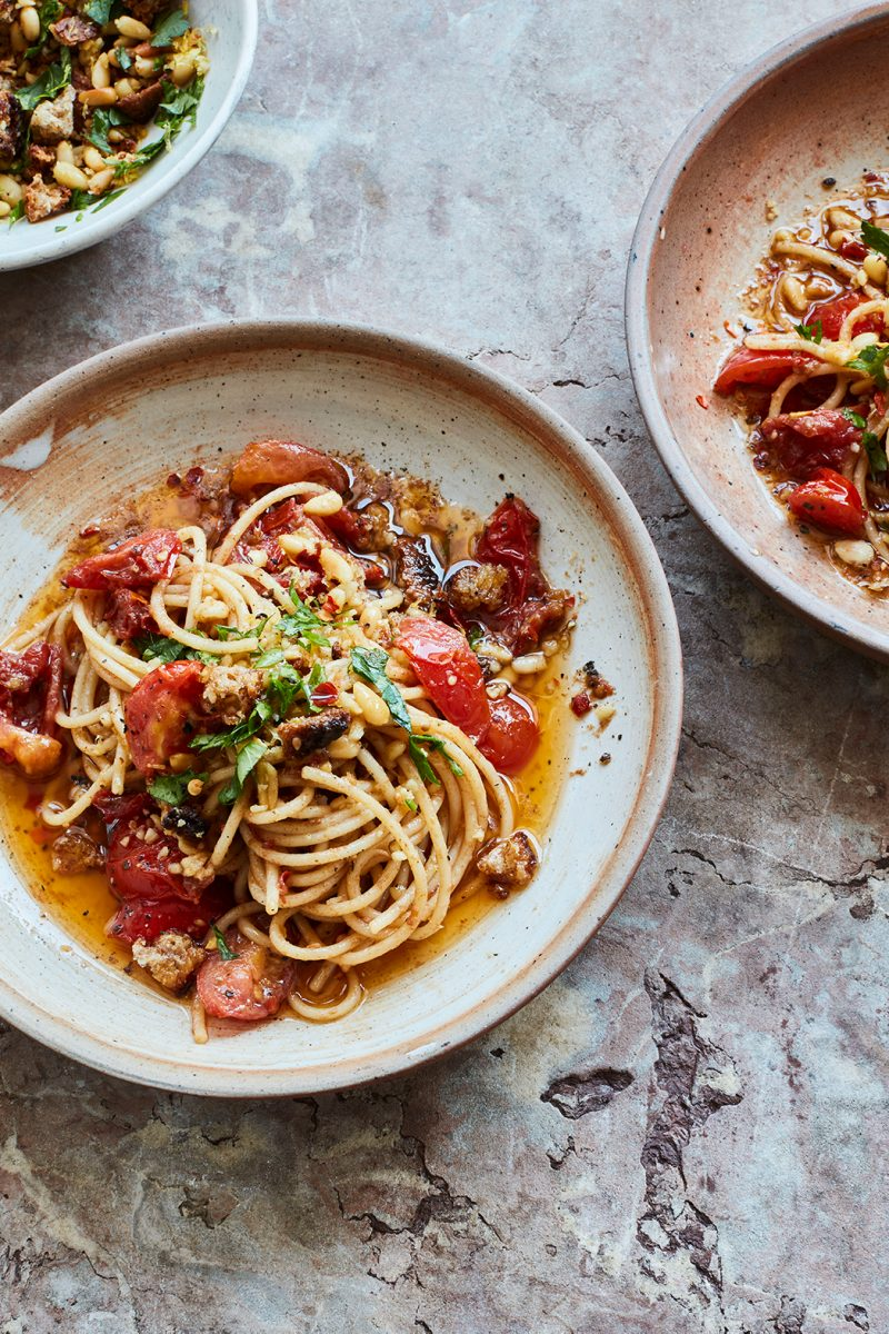 Anchovy spaghetti with pine nut picada from Rustica by Theo Michaels, photography by Mowie Kay, © Ryland, Peters & Small