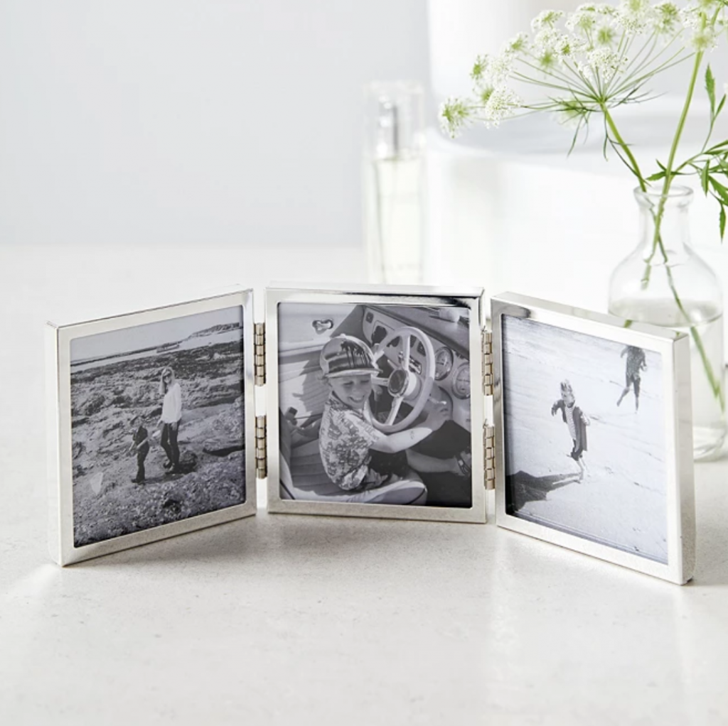 Fine Silver Triple Aperture Hinged Photo Frame 3x3in in gift box, £35, The White Company