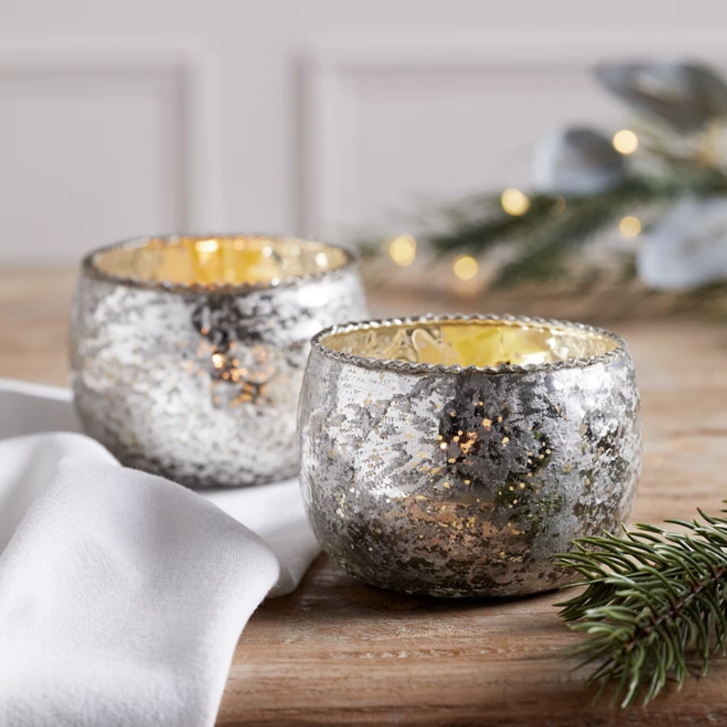 Frill Mercury Glass Tealight Holders, £12 for two, The White Company