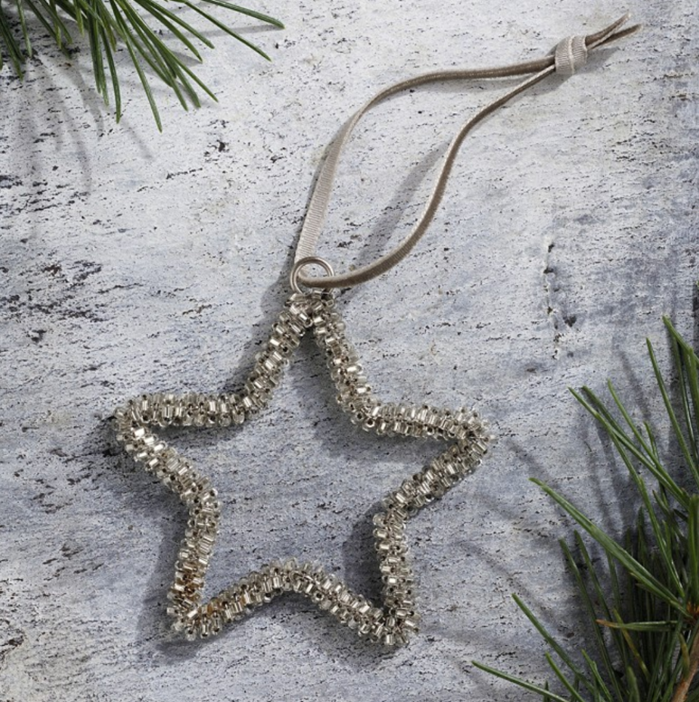 Glass beaded star decoration, £4, The White Company