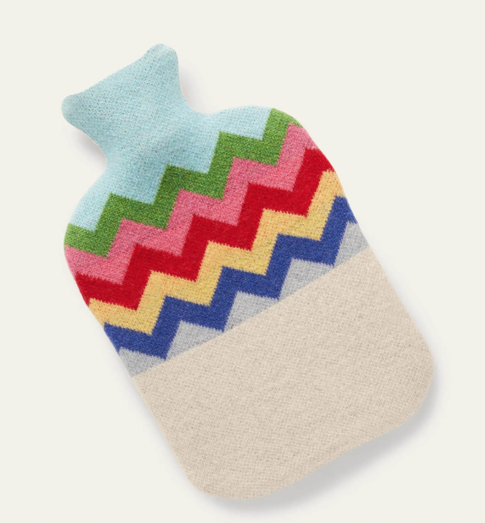 Hot Water Bottle with Ecru Rainbow Chevron cover, £38, Boden
