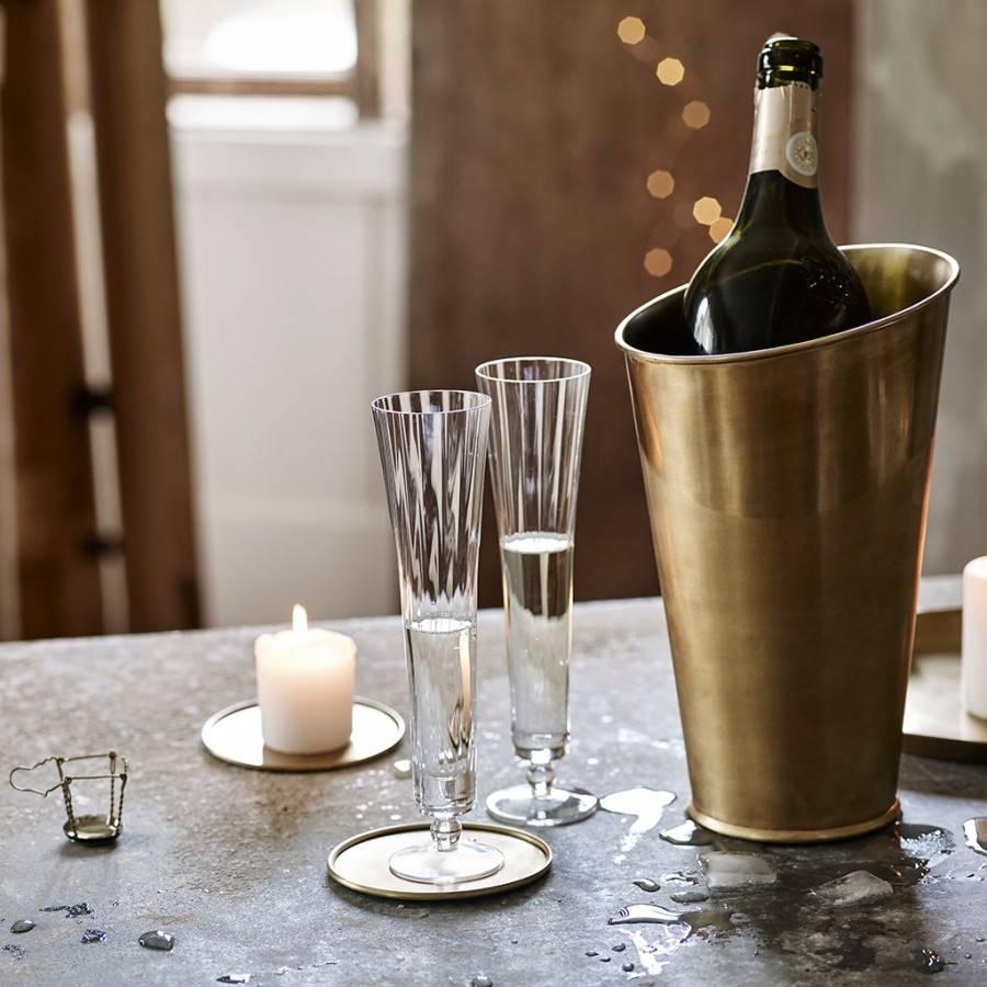 Lena brass champagne cooler, Rowen & Wren