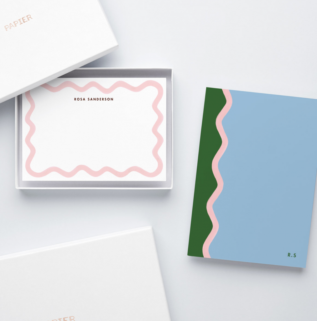 Matilda Goad Scallop notebook and notecard set, £49, Papier