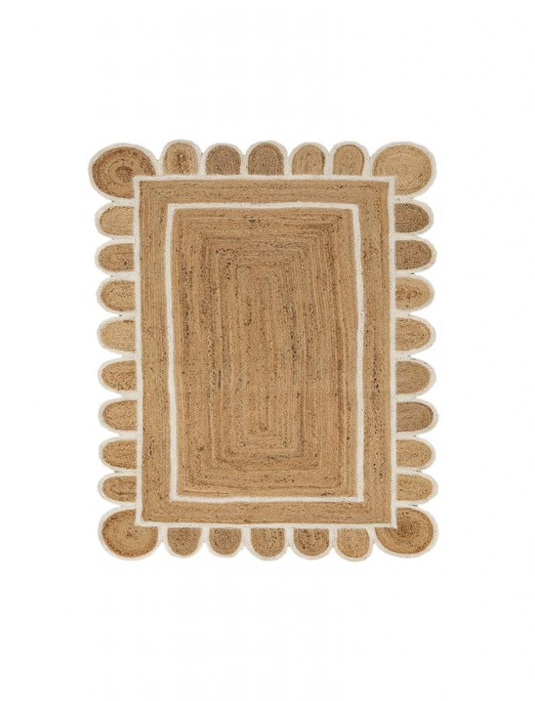 Scalloped jute white border rug, from £78.67, Etsy