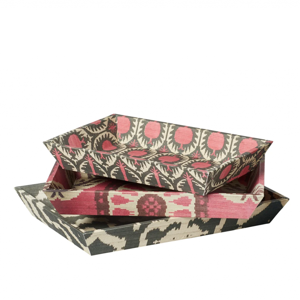 Set of three Ikat trays, £45, Oka