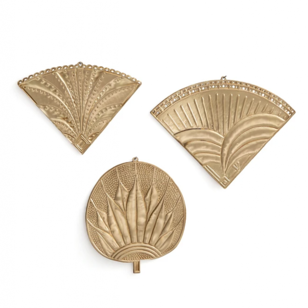 Strakaza brass wall fans, £28 (set of three), La Redoute