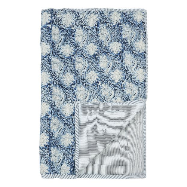Le Petit Lucas du Tertre reversible blue quilt, £87, Smallable, https://en.smallable.com/kalam-reversible-quilt-blue-le-petit-lucas-du-tertre-204539.html