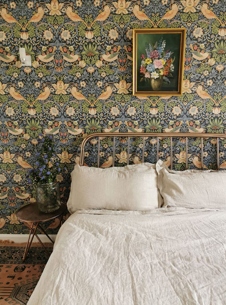 Laura Hunter home, bedroom with Morris & Co Strawberry Thief wallpaper