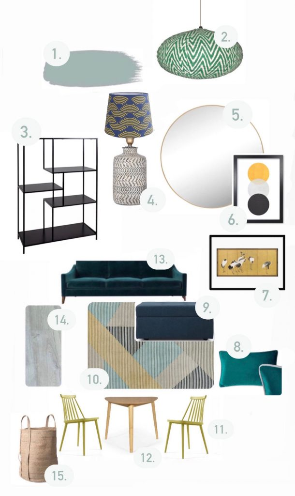 Moodboard for Design Havens for Heroes room makeover in shades of blue and green and yellow