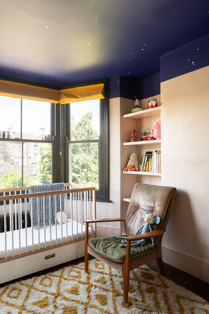 Gemma Ruse nursery with painted night sky ceiling and bay window. Photography by Fraher & Findlay/AdamScott
