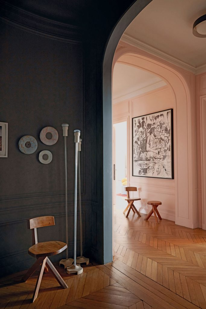 Parquet flooring, pink wall and inky blue wall at the home of Sandra Benhamou, photography by Gaelle le Boulicaut