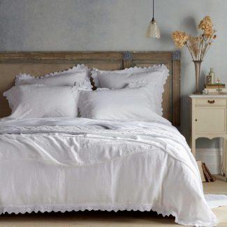 Violet white linen bed linen Secret Linen Store