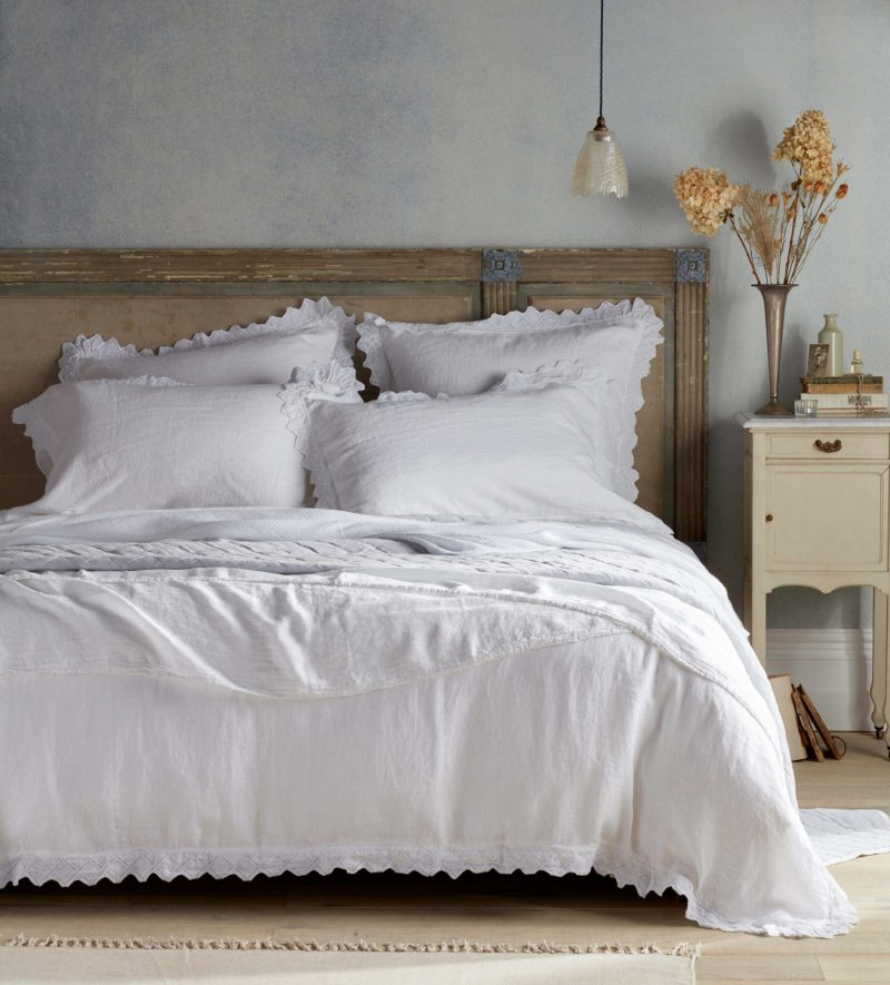 Violet white linen bed linen Secret Linen Store
