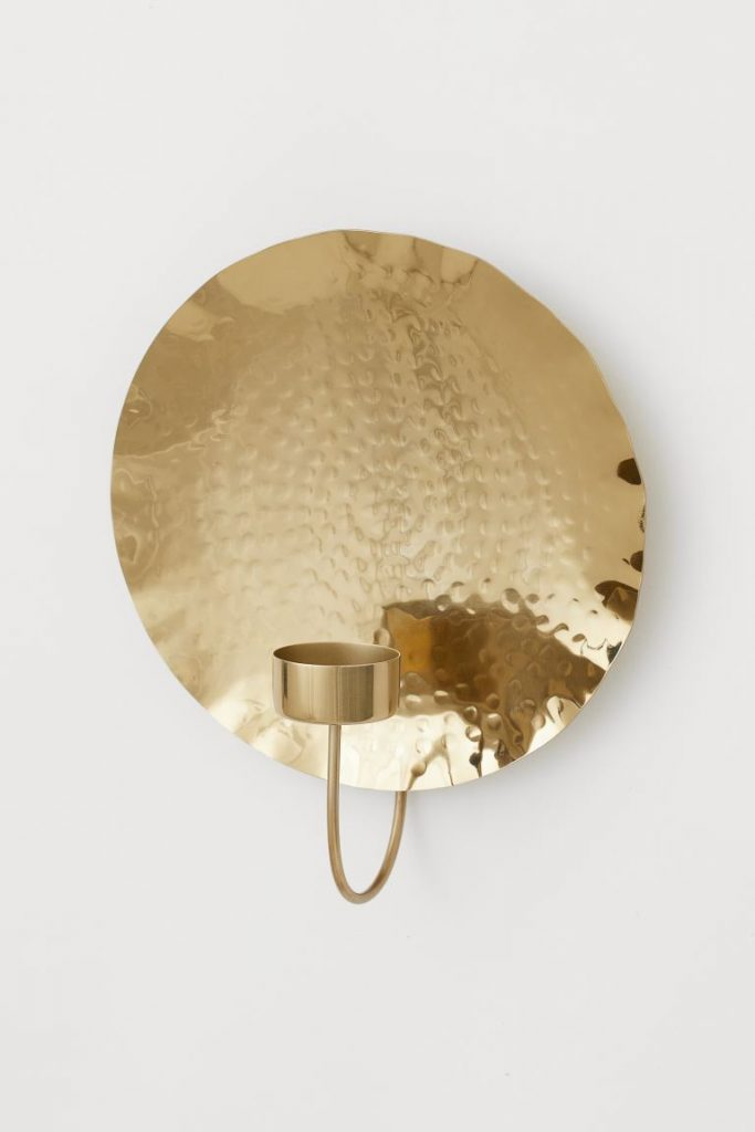 hammered metal candle sconce H&M