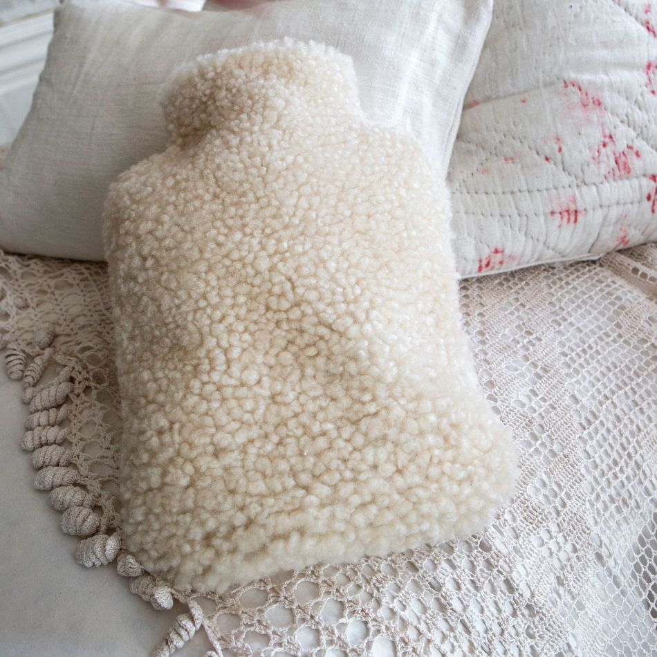 sheepskin cream hot water bottle cover from Graham & Green