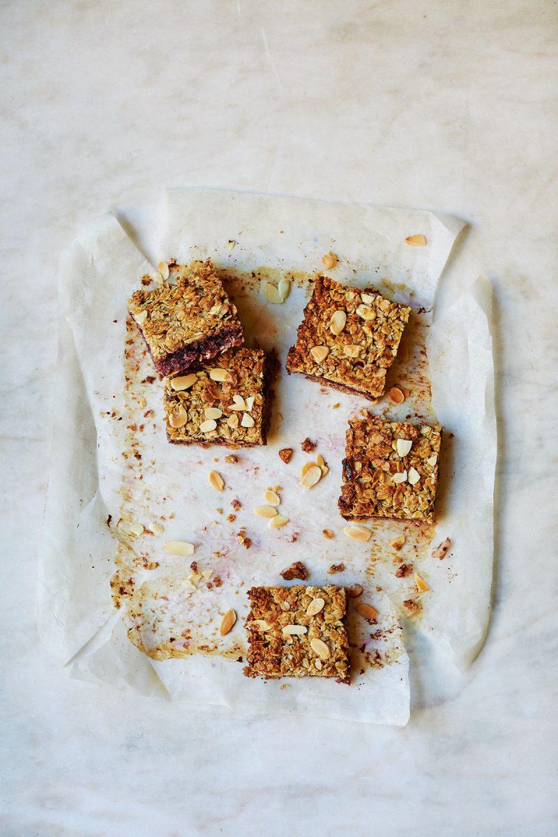 Easy Vegan Bakewell Flapjacks from Easy Vegan Bible by Katy Beskow
