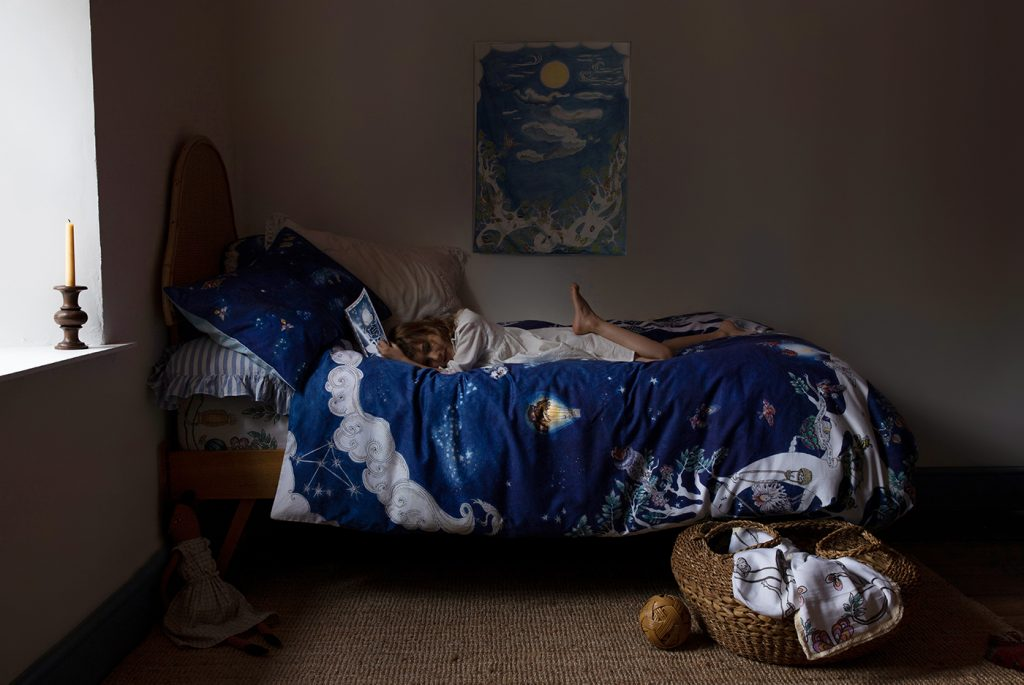 Forivor organic children's bedding The Space Above the Ground duvet & pillow and muslin jersey blanket © Hayley Todd