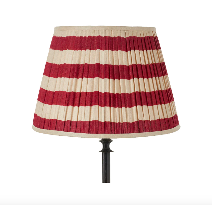 45cm red and white striped silk pleated lampshade, £150, from OKA