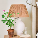 19cm gathered linen lampshade in Apricot, £28, Neptune